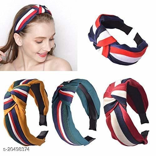 BEAUTY -Hair Accessories Korean Style Solid Fabric Knot with Tape Plastic Hairband Headband for Girls and Woman 4 PCS (RANDOM) MULTI COLOUR