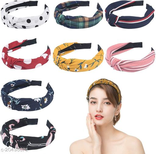 BEAUTY  FashionHair Accessories Korean Style Solid Fabric Knot with Tape Plastic Hairband Headband for Girls and Woman 8 PCS (RANDOM) MULTI COLOUR