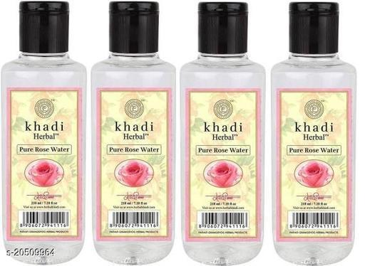 Premium Khadi Herbal Rose Water 210 Ml ( Pack of 4 )