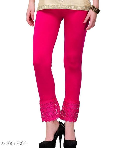 Lets Shine Lace Leggings for Females, Stylish Bottom Wear, Pink Color Free Size