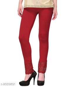 Lets Shine Lace Leggings for Females, Stylish Bottom Wear, Maroon Color Free Size