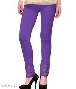Lets Shine Lace Leggings for Females, Stylish Bottom Wear, Purple Color Free Size