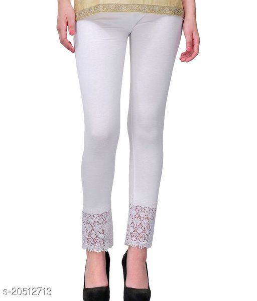 Lets Shine Lace Leggings for Females, Stylish Bottom Wear, White Color Free Size