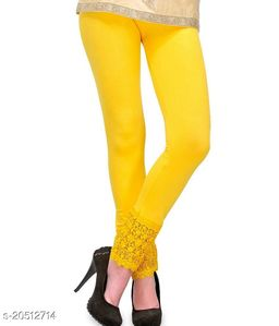 Lets Shine Lace Leggings for Females, Stylish Bottom Wear, Yellow Color Free Size