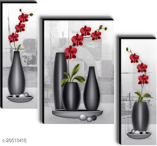 wallmax Decorated Flower Set of 3 UV Textured Home Décor Gift Item 6 mm MDF Painting 12 Inch x 18 Inch WAGJM-3081
