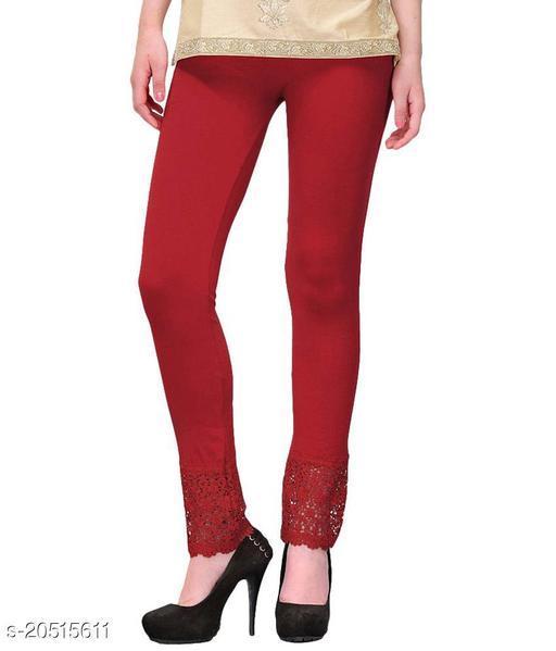 Style Pitara Lace Leggings for Females, Stylish Bottom Wear, Maroon Color Free Size