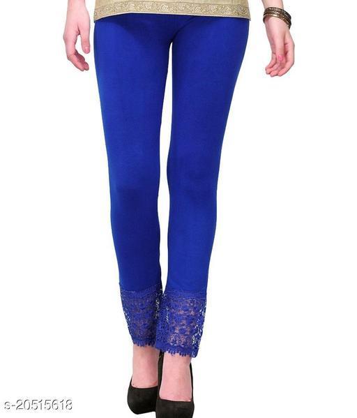 Style Pitara Lace Leggings for Females, Stylish Bottom Wear, Blue Color Free Size