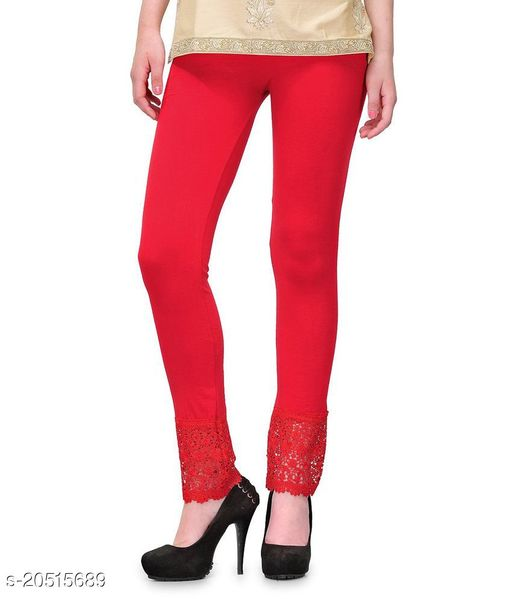 Style Pitara Lace Leggings for Females, Stylish Bottom Wear, Red Color Free Size