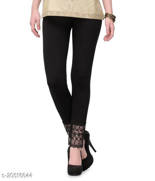 Style Pitara Lace Leggings for Females, Stylish Bottom Wear, Black Color Free Size