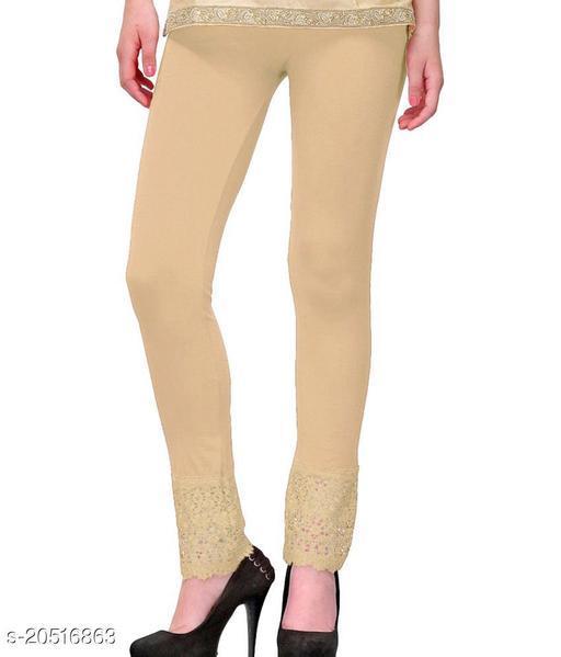 Style Pitara Lace Leggings for Females, Stylish Bottom Wear, Beige Color Free Size