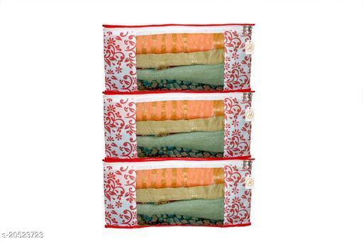 Present Multipurpose Wardrobe Organiser,Saree Cover Bag,Regular Cloth Storage Bag in Heavy Non woven Material Printed    (Red Patti Printed) Pack of 3