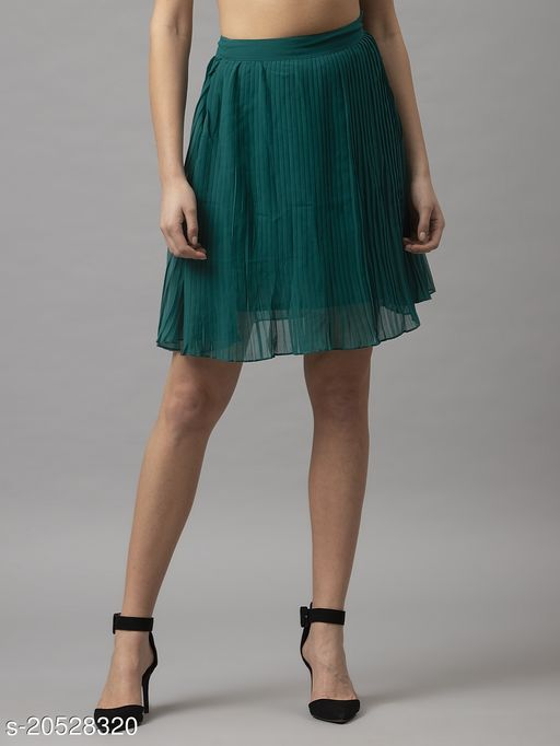 Style Quotient Womens Green Pleated Skirts