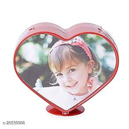 Magic Mirror Photo Frame with Watch Decorated Vintage Glass Photo Frame Home Desktop Picture Frame Table Top Frame (Heart Moving Photo Frame)