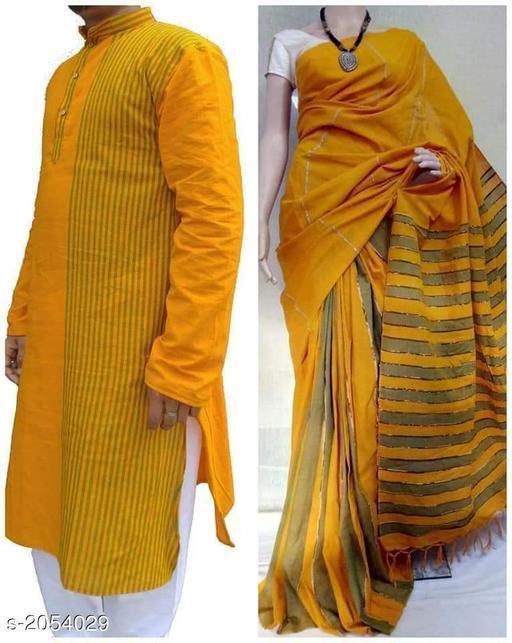 Fancy Cotton Men's Kurta & Saree Combo