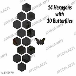 Atulya Arts 3D Black Hexagon Decorative Acrylic Mirror Wall Stickers (Pack of 14) with 10 Butterfly Stickers