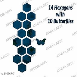 Atulya Arts 3D Blue Hexagon Decorative Acrylic Mirror Wall Stickers (Pack of 14) with 10 Butterfly Stickers