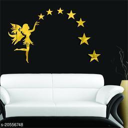 Atulya Arts 3D Golden Fairy Decorative Acrylic Mirror Wall Stickers