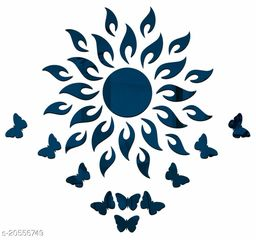 Atulya Arts 3D Blue Sun Decorative Acrylic Mirror Wall Stickers with 10 Butterfly Stickers