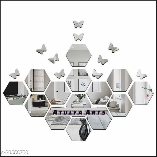 Atulya Arts 3D Silver Hexagon Decorative Acrylic Mirror Wall Stickers (Pack of 14) with 10 Butterfly Stickers