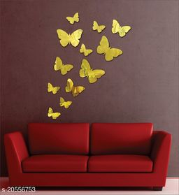 Atulya Arts 3D Golden Butterfly Decorative Acrylic Mirror Wall Stickers (Pack of 12)