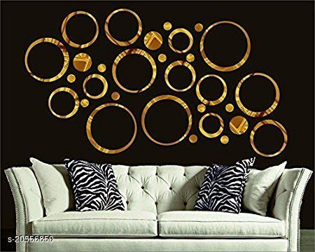 Atulya Arts 3D Golden Rings & Dots Decorative Acrylic Mirror Wall Stickers (Pack of 30)