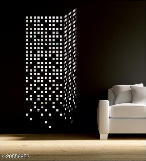 Atulya Arts 3D Silver Mosiac Decorative Acrylic Mirror Wall Stickers (Pack of 100)