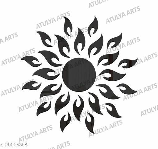 Atulya Arts 3D Black Sun Decorative Acrylic Mirror Wall Stickers