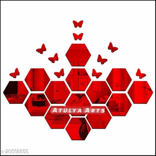 Atulya Arts 3D Red Hexagon Decorative Acrylic Mirror Wall Stickers (Pack of 14) with 10 Butterfly Stickers