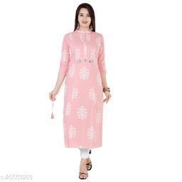 ISHOO Kurti Pink Color Cotton Kurti With Zardosi work Straight Kurti For women