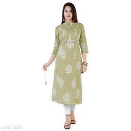 ISHOO Kurti Green Color Cotton Kurti With Zardosi work Straight Kurti For women