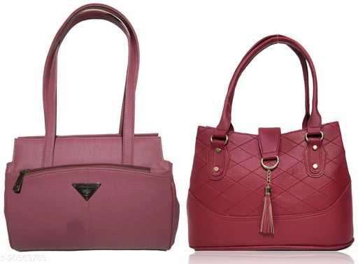 AZED Collections Women's PU Leather Handbag - Combo Pack of 2 -Purple & Maroon (12-AZ00047PL_H006MN)