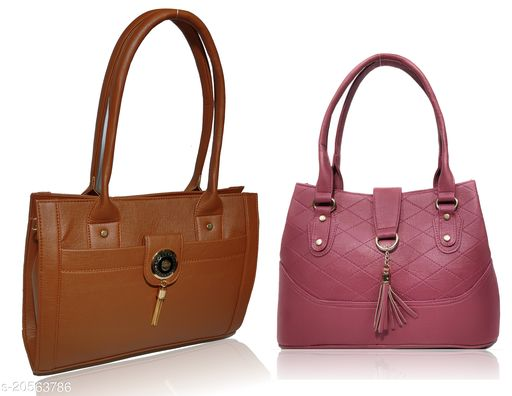 AZED Collections Women's PU Leather Handbag - Combo Pack of 2 -Tan & Purple (12-H003TN_H006PL)