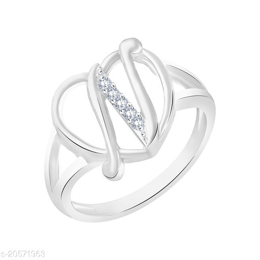 VK Fashion Jewels Stylish Initial  Heart 'N' Rhodium Plated Alphabet Ring For Women and Girls