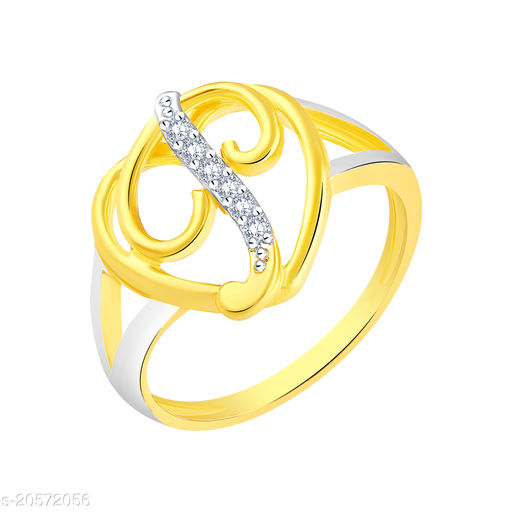VK Fashion Jewels Stylish Initial  Heart 'P' Gold Plated Alphabet Ring For Women and Girls