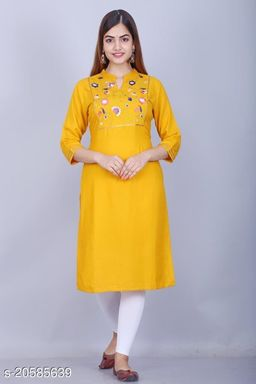 Women Embroidered Yellow Straight Kurtis
