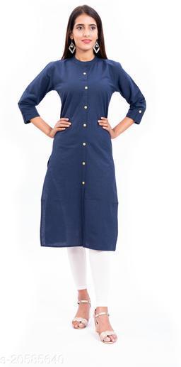 Women Solid Blue Straight Kurtis
