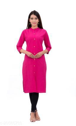 Women Solid Pink Straight Kurtis