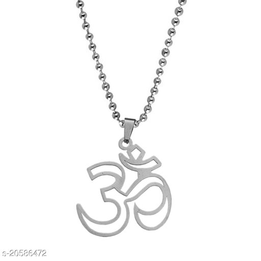 Sullery Ohm Om Aum   Silver  Brass Religious Spiritual Jewellery Pendant Necklace  For Men And Boys