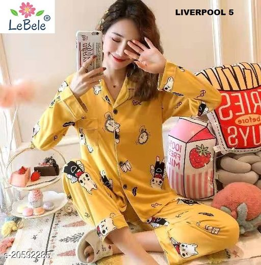 FRENCH RICH COTTON  PRINTED NIGHTSUIT TOP WITH BOTTOM