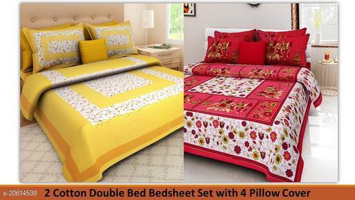 Jaipuri Double Bedsheet Bedsheet Combo pack 1 Bindiya Pattern Printed Yellow Bedsheet with 1 other Trendy Bedsheet ( 2 Bedsheet with 4 Pillow Cover)