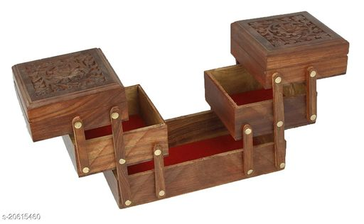 Handmade Wooden Jewellery Box for Women Jewel Organizer Hand Carved Carvings, (5 in 1) Gift Items