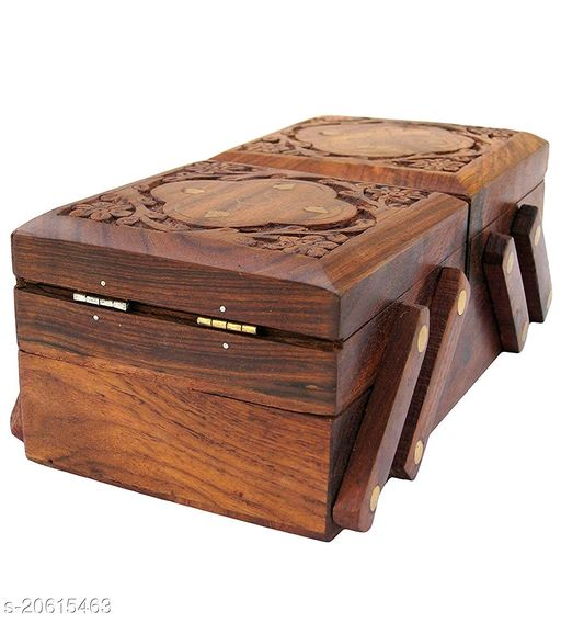 Handmade Wooden Jewellery Box for Women Jewel Organizer Hand Carved Carvings Gift Items