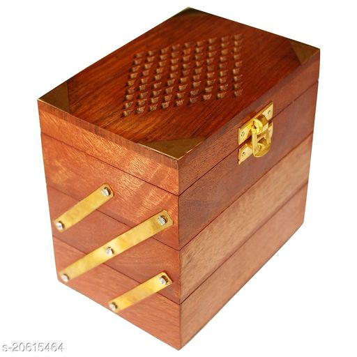 Handmade Wooden Jewellery Box for Women Jewel Organizer Hand Carved Jali Carvings Gift Items