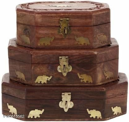 Wooden Jewellery Box Set of 3 Piece with Brass Work in All Side,Colour Brown