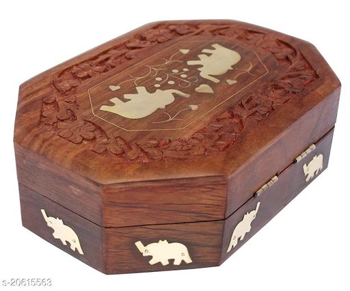 Handmade Wooden Jewellery Box Octagonal Handcrafted Elephant Brass Inlay & Wood Carvings