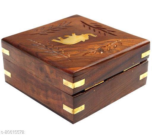 Handmade Wooden Jewellery Box for Women Jewel Organizer Square Elephant Décor, 4 x 4 inches