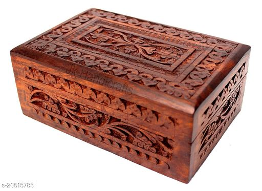 Handmade Wooden Jewellery Box for Women Wood Jewel Organizer Hand Carved with Intricate Carvings Gift Items - 6 inches