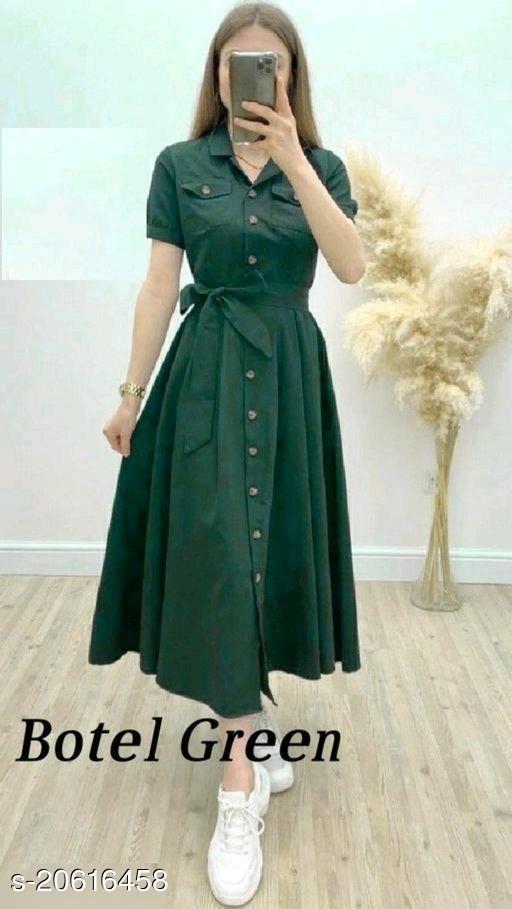 FANCIFY Solid Print A-line long Dress