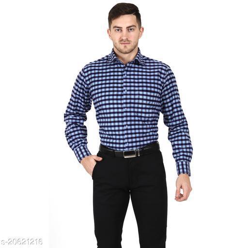 NOBLE EAGLE Men's Checkered Cottswool Winter Wear Woolen Regular Fit Formal Shirt