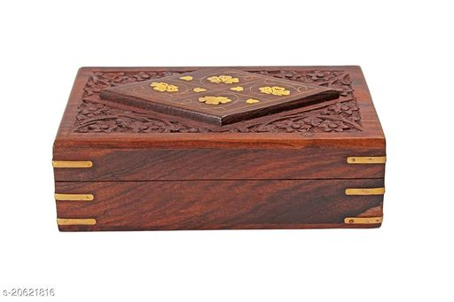 Handmade Wooden Jewellery Box for Women Jewel Organizer Hand Carved with Brass Inlay Gift Items